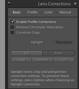 Upright Lens Correction LightRoom 5